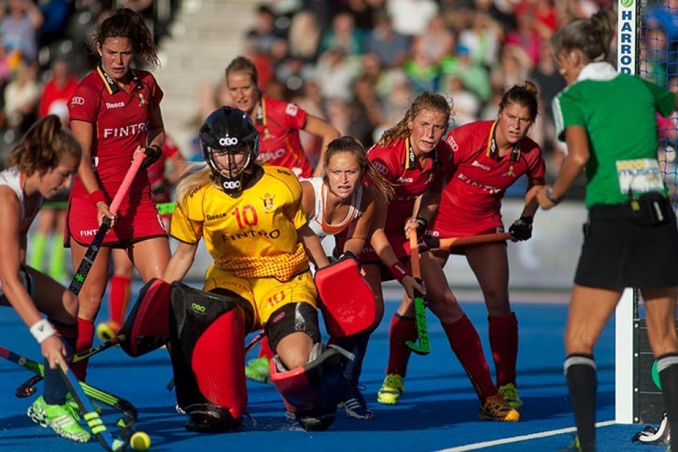 Fotografía de Anna Ferrer para Nthephoto. Jugadoras de la Selección Belga en el Europeo de Hockey Hierba 2015