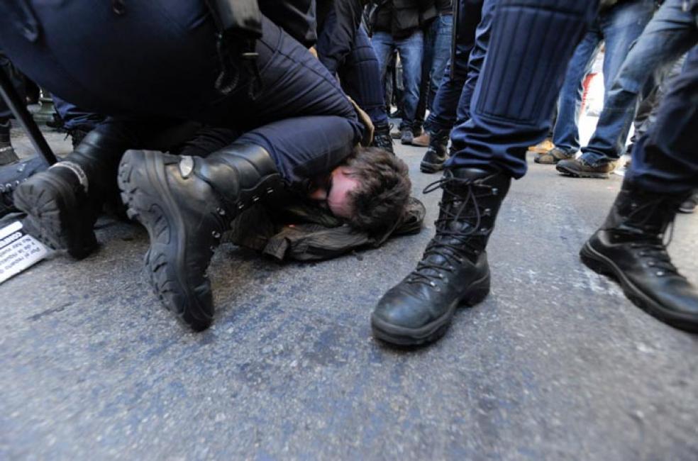 Fotografía de Pablo González para Nthephoto. Disturbios en Madrid durante la última huelga general