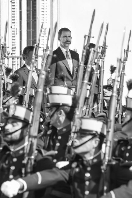 Fotografía de Diego Puerta para Nthephoto. El Rey Felipe VI durante la visita oficial del Presidente de Colombia Juan Manuel Santos en el Palacio de El Pardo.
