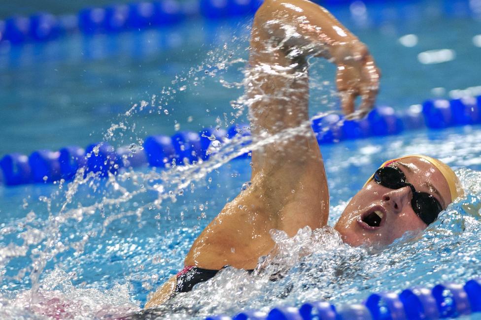 Fotografía de Juan José Úbeda Díaz de Argandoña para Nthephoto. La mejor nadadora española de la historia, Mireia Belmonte, en una de sus competiciones de 2014